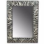 Well 1 in. W x 32 in. H Framed Rectangular Bathroom Vanity Mirror in White/Black