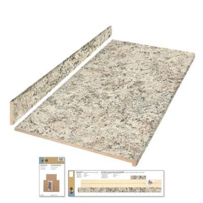 8 ft. Gray Laminate Countertop Kit with Eased Edge in Typhoon Ice Quarry