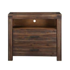 Meadow 42 in. Brick Brown Wood TV Stand Fits TVs Up to 42 in. with Cable Management