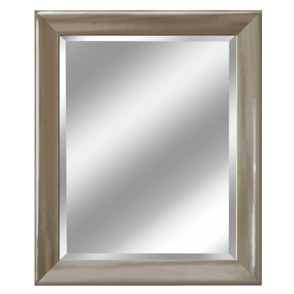 Deco Mirror 28 In W X 34 In H Framed Rectangular Beveled Edge Bathroom Vanity Mirror In Brush Nickel 2076 The Home Depot
