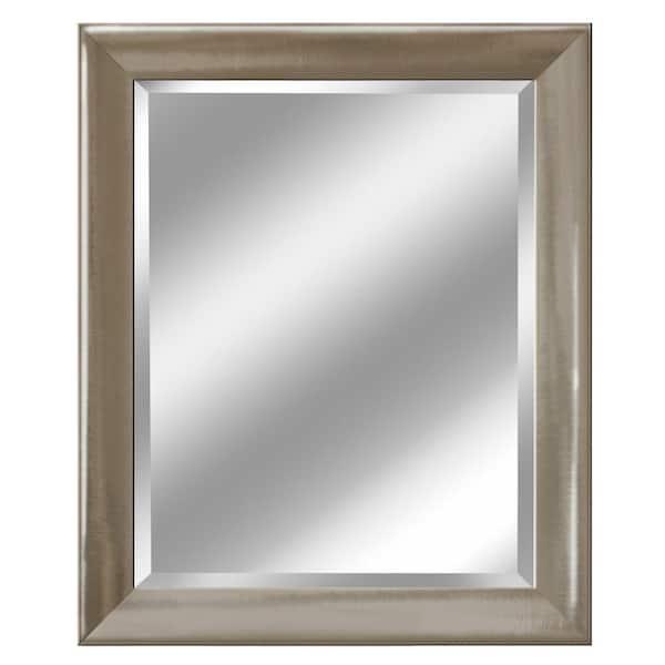 Deco Mirror 28 In W X 34 H Framed, Nickel Framed Vanity Mirror