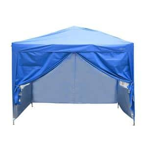 10 ft. x 10 ft. Blue Outdoor Patio Canopy With Canopy Bag and 4 Removable Side