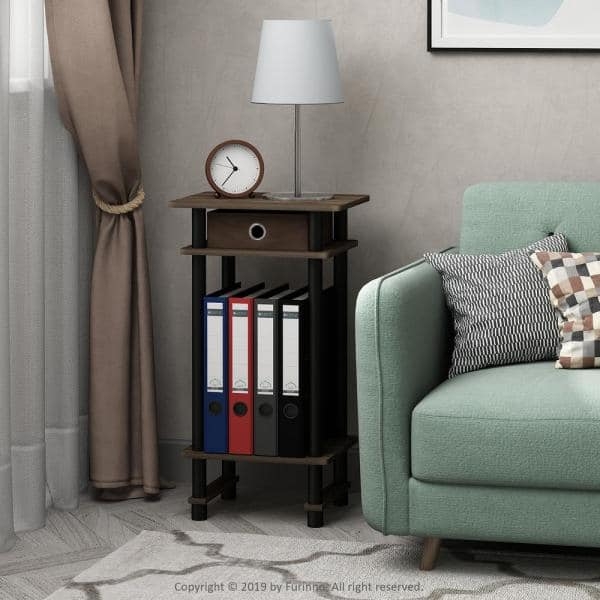 Furinno Turn N Columbia Walnut, Tall Side Tables Living Room