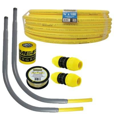 Underground 3/4in IPS New Install Kit (1)3/4inx100ft Pipe, (2)3/4in Couplers, (2)3/4in Meter Risers, Gas Line Detection