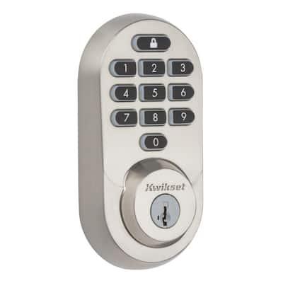HALO Satin Nickel Keypad Wi-Fi Electronic Single-Cylinder Smart Lock Deadbolt featuring SmartKey Security