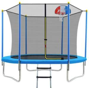 Elegant 8 ft. Round Outdoor Trampoline for Kids with Safety Enclosure Net, Basketball Hoop and Ladder