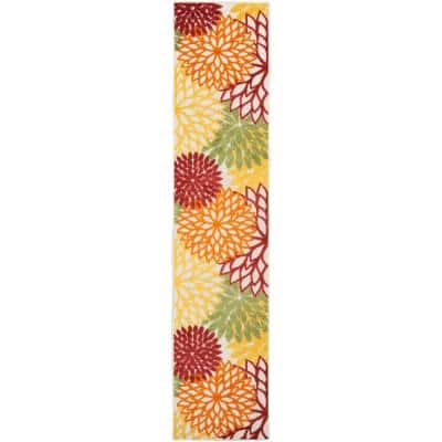 Aloha Red Multi 2 ft. x 12 ft. Floral Contemporary Indoor/Outdoor Runner Rug