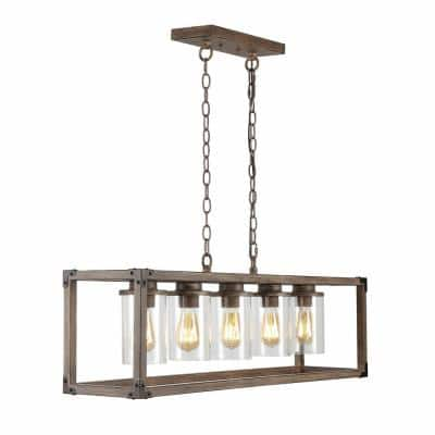 Zeniba 36 in. 5-Light Linear Adjustable Iron/Seeded Glass Rustic Farmhouse LED Pendant, Brown