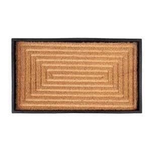 24.5 in. x 14 in. x 1.5 in. Natural & Recycled Rubber Boot Tray with Rectangle Embossed Coir Insert