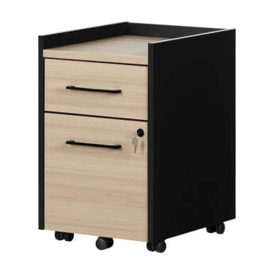 Kozack Soft Elm and Matte Black Decorative Vertical File Cabinet with 2-Drawers