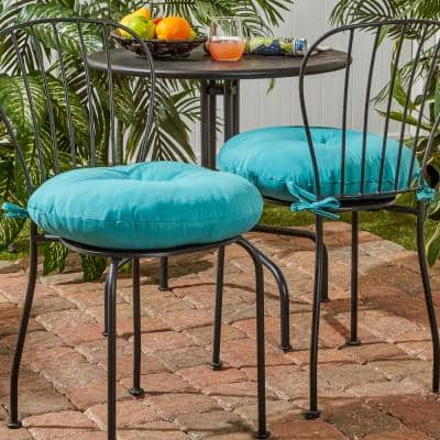 Solid Teal 18 in. Round Outdoor Seat Cushion (2-Pack)