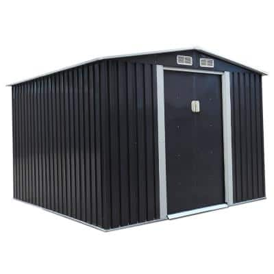 8.4 ft. W x 8.4 ft. D Outdoor Storage Building Metal Storage Shed Garden Tool Storage with Sliding Door (70.56 sq. ft.)