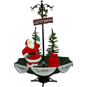 47 in. Christmas Red Santa with Green Umbrella Base and Music