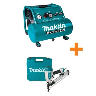 3 Gal. Quiet Series 1.5 HP, Oil-Free, Electric Air Compressor with Bonus 15-Gauge, 2.5 in. Angled Finish Nailer