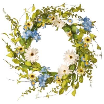 20 in. White and Blue Hydrangea/Gerber Flowers Floral Wreath Decor