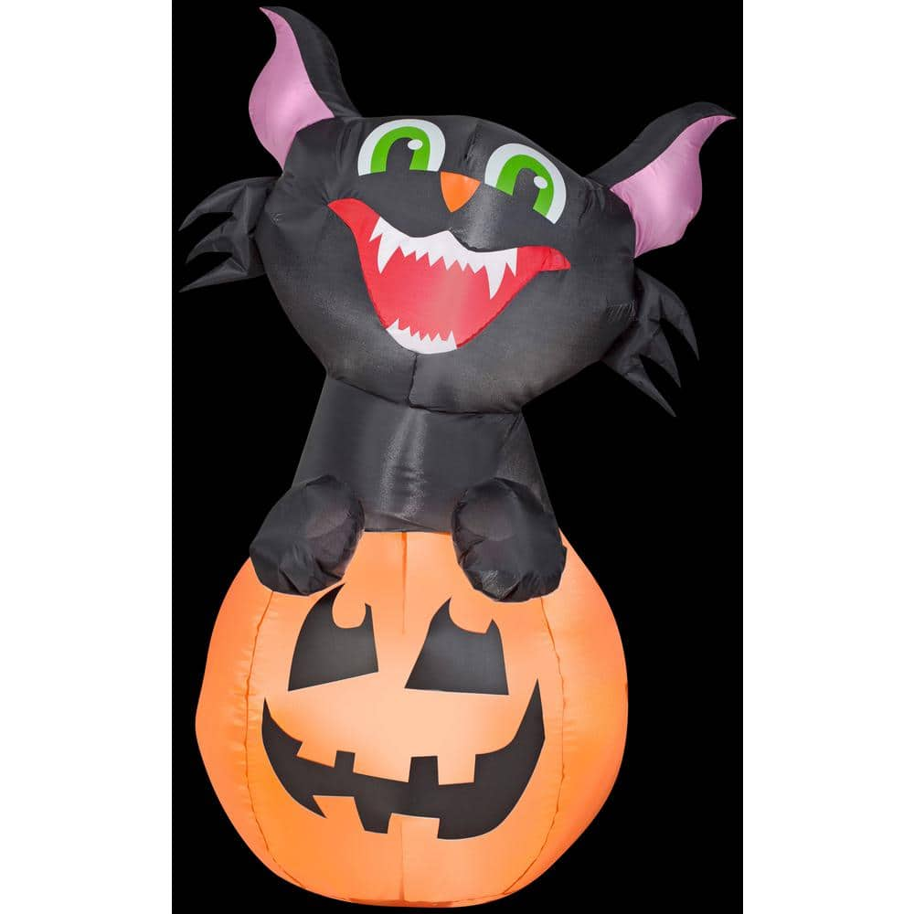 Gemmy 3 5 Ft H Pumpkin Cat Sm Halloween Inflatable G 58807 The Home Depot