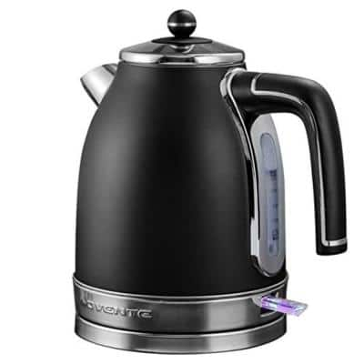 7.2-Cup Black Stainless Steel Electric Kettle with Removable Filter, Boil Dry Protection and Auto Shut Off Features