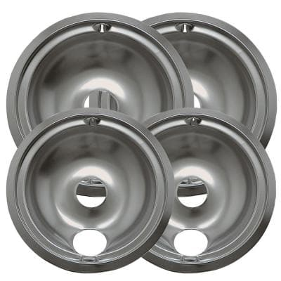 6 in. 2-Small and 8 in. 2-Large B Style Drip Pan in Chrome (4-Pack)