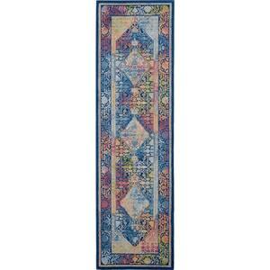 Global Vintage Blue/Multicolor 2 ft. x 6 ft. Oriental Vintage Runner Rug