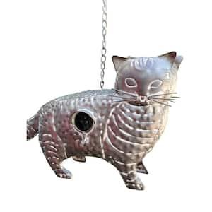 Gray Galvanized Hanging Animal Cat Birdhouse