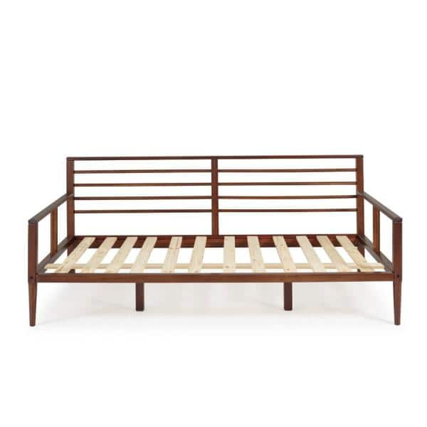 Welwick Designs Modern Solid Wood Twin Spindle Daybed - Walnut | The Home Depot