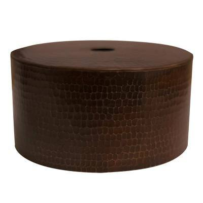 1-Light Hammered Copper Cylinder Pendant Shade in Oil Rubbed Bronze