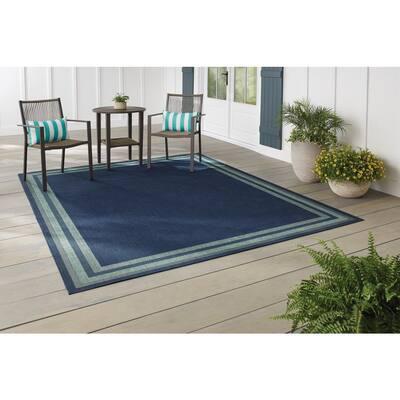 Border Navy Aqua 5 ft. x 7 ft. Indoor/Outdoor Area Rug