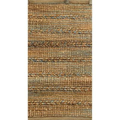 Woven Brown/Blue 7 ft. x 9 ft. Braided Natural Jute Area Rug