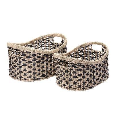 13 in. W x 10 in. H and 11 in. W x 9 in. H Handmade Water Hyacinth Oval Wicker Nesting Baskets (2-Pack)