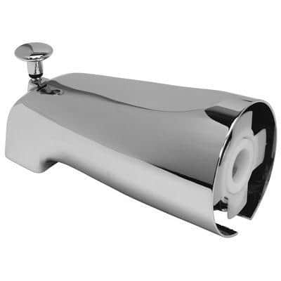 Bathtub Spout with Top Diverter and Adjustable Slide Connector in Chrome