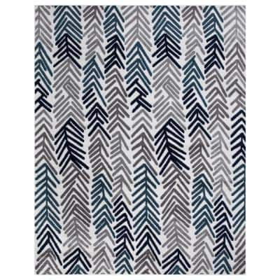 Jasmin Collection Contemporary Floral Design Ivory and Navy 7 ft. 8 in. x 9 ft. 8 in. Area Rug