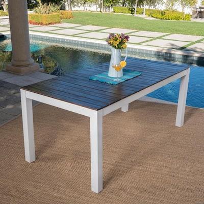 Jillian Pu White Rectangular Wood Outdoor Dining Table
