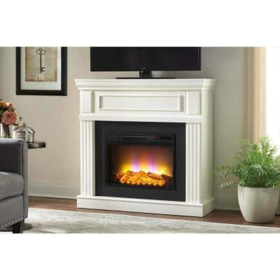 Grantley 40 in. Freestanding Electric Fireplace in White