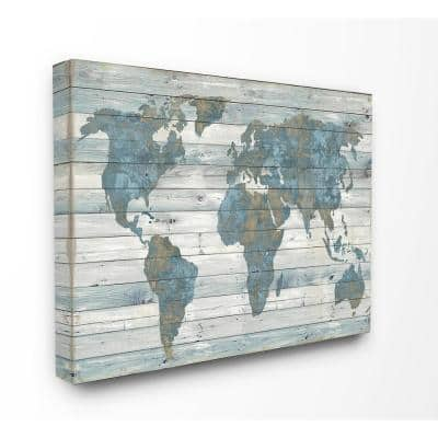 """30 in. x 40 in. """"Slate Blue and Tan Rustic Weathered World Map"""" by Artist Jamie MacDowell Canvas Wall Art"""