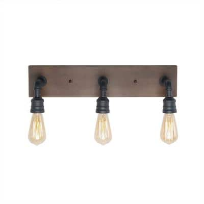3-Light Black Farmhouse Bathroom Vanity Light Industrial Water Pipe Wall Sconce with Wood Accents