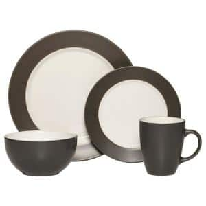 Harmony 16-Piece Casual Charcoal Stoneware Dinnerware Set (Set for 4)