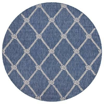 Seaside Navy Blue/White 7 ft. 6 in. Round Nautical-Knot Polypropylene Indoor/Outdoor Area Rug