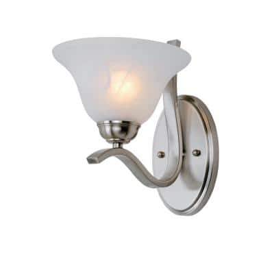 Hollyslope 1-Light Brushed Nickel Wall Sconce with Marbleized Glass Shade