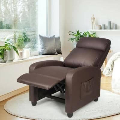 27 in. Width Big and Tall Coffee Leather Adjustable Headrest 3 Position Recliner