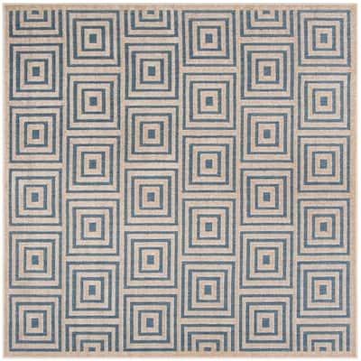 Cottage Light Blue/Cream 7 ft. x 7 ft. Square Geometric Indoor/Outdoor Area Rug