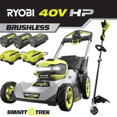 40V HP Lithium Battery Brushless Walk Dual-Blade Self-Propelled Mower and String Trimmer - (3) Batteries & (2) Chargers