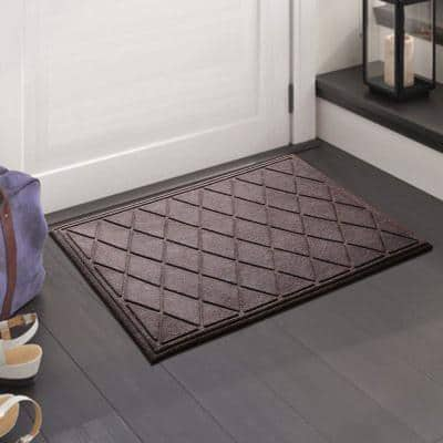 A1HC Diamond Classic Brown 24 in. x 36 in. Eco-Poly Scraper Mats with Anti-Slip Fabric Finish and Tire Crumb Backing