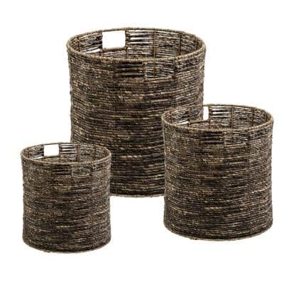 Coastal Collection 15.75 in. x 15.75 in. x 15.75 in. Brown Stackable Maize Basket (3-Pack)