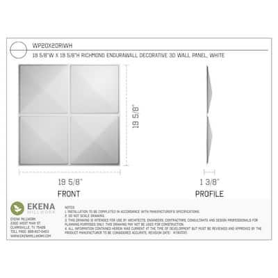 1-3/8 in. x 19-5/8 in. x 19-5/8 in. PVC White Richmond EnduraWall Decorative 3D Wall Panel