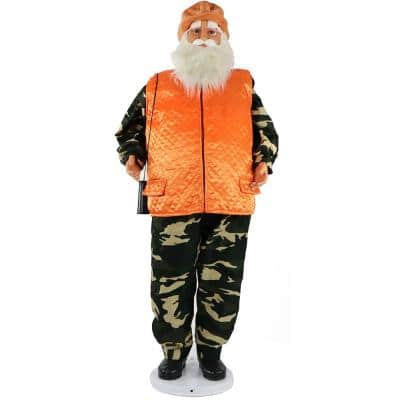 58 in. Christmas Dancing Camo Santa in Orange Vest and Cap with Binoculars