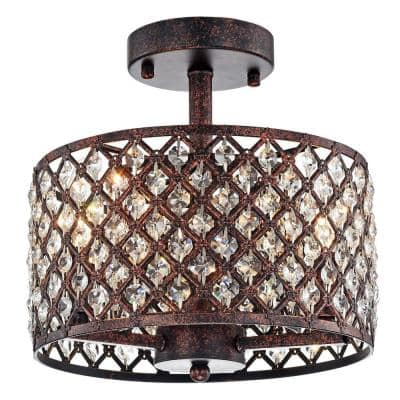 Thirdy 15 in. 3-Light Indoor Antique Black and Copper Finish Semi-Flush Mount Ceiling Light with Light Kit