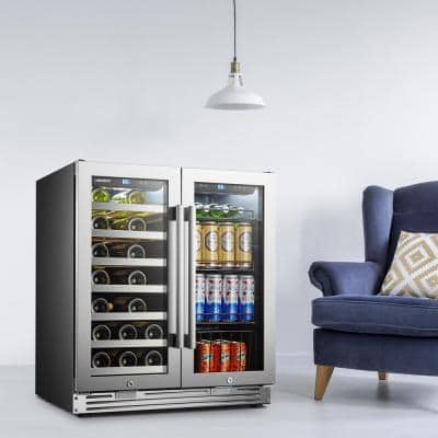 LP66B - 31 Bottle 58 Can 2 Door Seamless Stainless Steel Combo Wine and Beverage Refrigerator