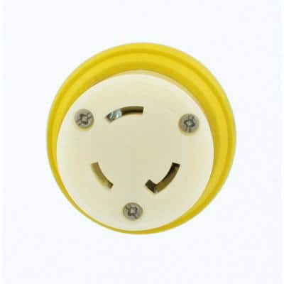 30 Amp 125-Volt Wetguard Locking Grounding Connector for Single Inlet, Yellow