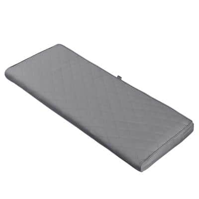 Montlake FadeSafe 42 in. W x 18 in. D x 3 in. Thick Grey Rectangular Outdoor Quilted Bench Cushion