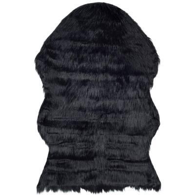 Faux Sheep Skin Black 3 ft. x 5 ft. Area Rug